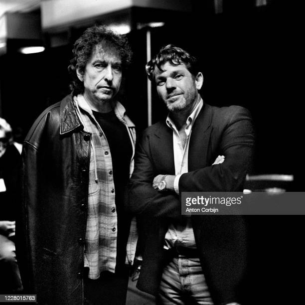 Bob Dylan & Jann Wenner are photographed during preparations for the first concert for the Rock and Roll Hall of Fame & Museum on September 2, 1995...