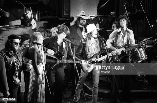 Bob Dylan joins The Band to play their Last Waltz at Winterland on November 25 1976 in San Francisco California