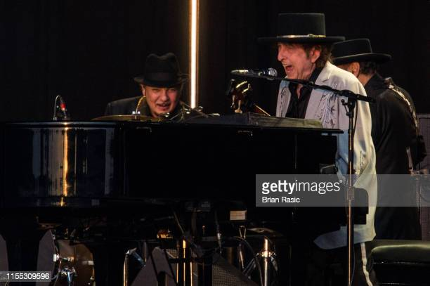 Bob Dylan performs as part of a historic double bill with Neil Young/Bob Dylan at Hyde Park on July 12 2019 in London England