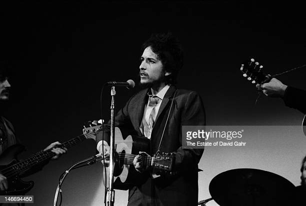 Bob Dylan performs at the Woody Guthrie Memorial Concert on January 20 1968 at Carnegie Hall in New York City New York