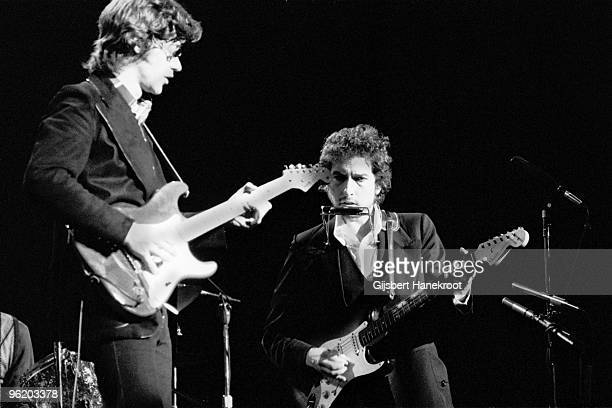 Bob Dylan performs live on stage with Robbie Robertson of The Band at Madison Square Garden New York as part of his 1974 Tour Of America on January...