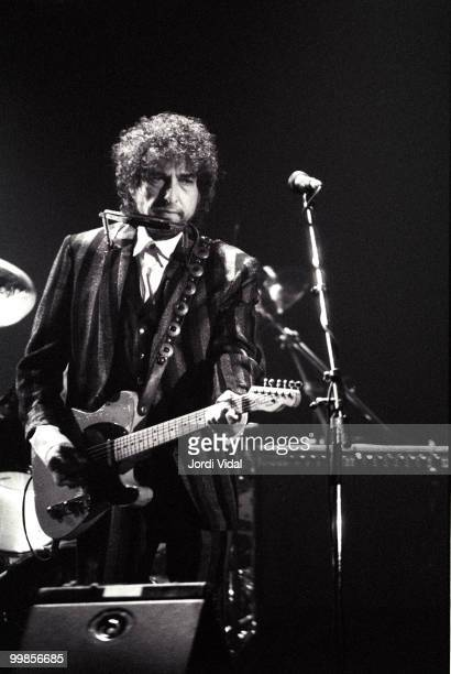 Bob Dylan performs on stage at Palau d'Esports on June 6 1989 in Barcelona Spain