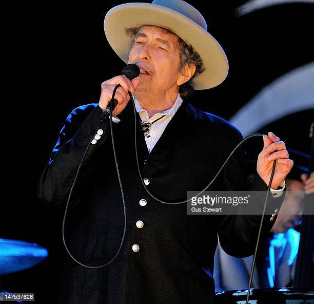Bob Dylan performs on stage during Hop Farm Festival at Hop Farm Family Park on June 30 2012 in Paddock Wood United Kingdom