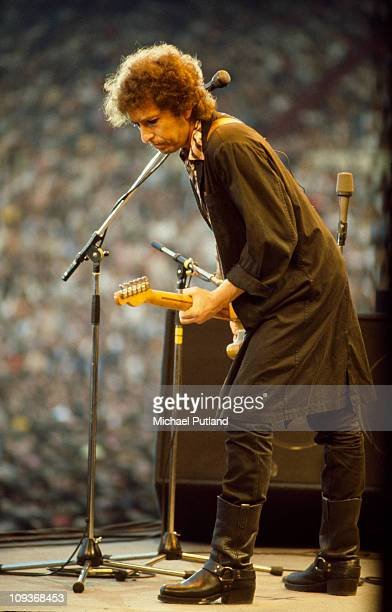 Bob Dylan performs on stage Wembley London 7th July 1984