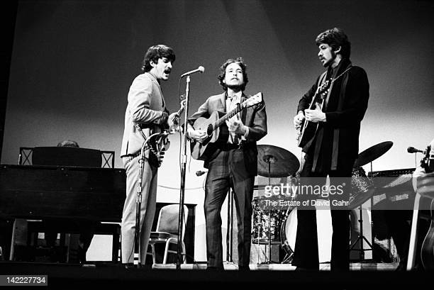 Bob Dylan performs with Rick Danko and Robbie Robertson at the Woody Guthrie Memorial Concert on January 20 1968 at Carnegie Hall in New York City...
