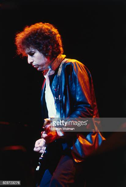 Bob Dylan playing guitar on stage San Francisco California November 1979