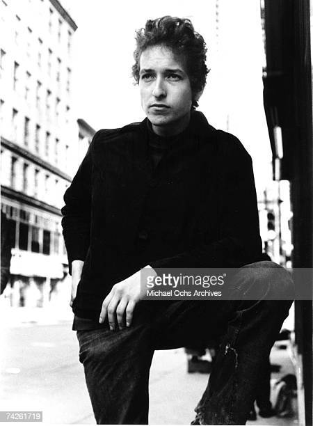Bob Dylan poses for a portrait that appears on the cover of of his 'Another Side of Bob Dylan' album on August 8 1964 in New York City New York