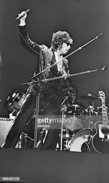 Bob Dylan seen here performing on stage at The Picnic concert at Blackbushe Aerodrome 15th July 1978