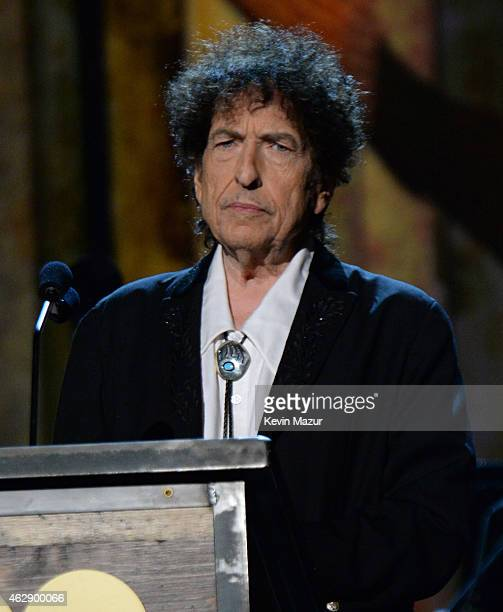 Bob Dylan speaks onstage at the 25th anniversary MusiCares 2015 Person Of The Year Gala honoring Bob Dylan at the Los Angeles Convention Center on...
