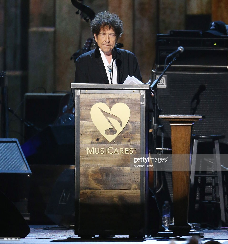 Bob Dylan speaks onstage during the 2015 MusiCares Person of The Year honoring him held at Los Angeles Convention Center on February 6, 2015 in Los Angeles, California.