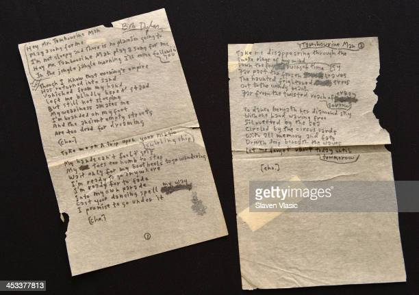 Bob Dylan's handwritten lyrics for 'Mr Tambourine Man' on display at 'Icons Idols Rock n' Roll' on December 3 2013 in New York City