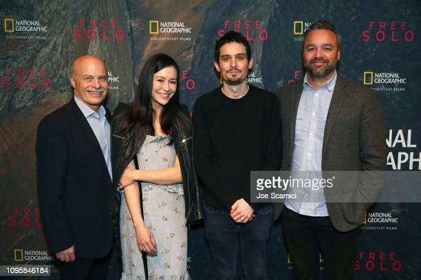 "Bob Eisenhardt Elizabeth Chai Vasarhelyi Damien Chazelle and Evan Hayes attend a screening of National Geographic Documentary Films ""Free Solo"" at..."