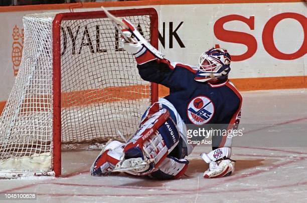 Bob Essensa of the Winnipeg Jets skates against the Toronto Maple Leafs during NHL game action on March 17 1990 at Air Canada Centre in Toronto...