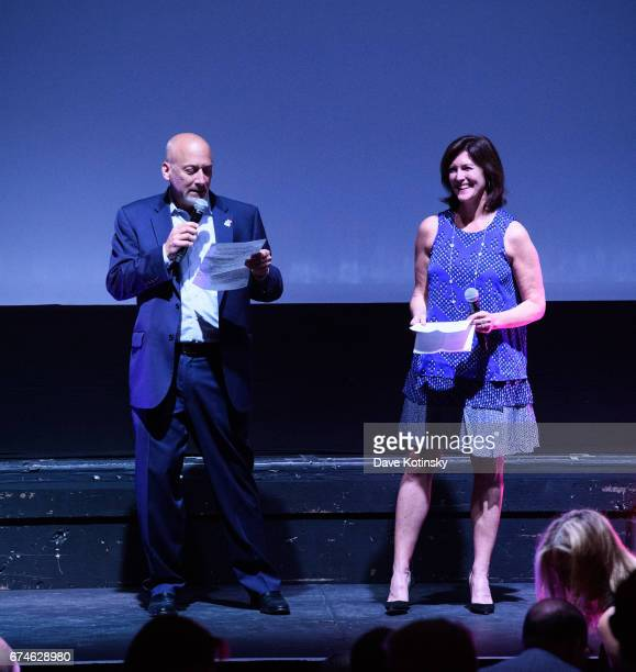 Bob Feinberg Founder and Chairman of the Board and Evelyn Colbert speak at Montclair Film Festival 2017 Opening Night on April 28 2017 in Montclair...