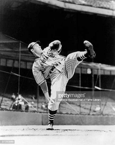 Bob Feller of the Cleveland Indians pitches during a season game Bob Feller played for the Cleveland Indians from 19361956