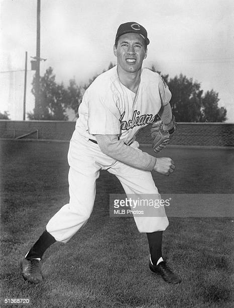 Bob Feller of the Cleveland Indians poses for an action portriat Bob Feller played for the Cleveland Indians from 19361956