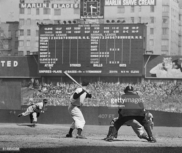 Bob Feller pitching to Joe DiMaggio at ClevelandYankee game Feller Pitched a nohit game