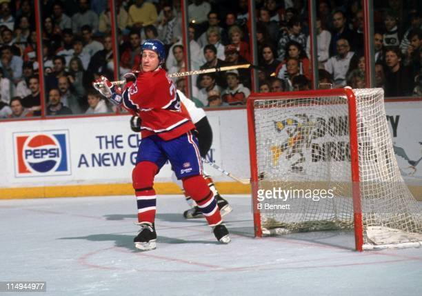 Bob Gainey of the Montreal Canadiens skates in front of the net during an NHL game against the Philadelphia Flyers circa 1986 at the Spectrum in...