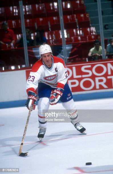 Bob Gainey of the Montreal Canadiens skates on the ice during warmups before a 1989 Stanley Cup Finals game against the Calgary Flames circa May 1989...