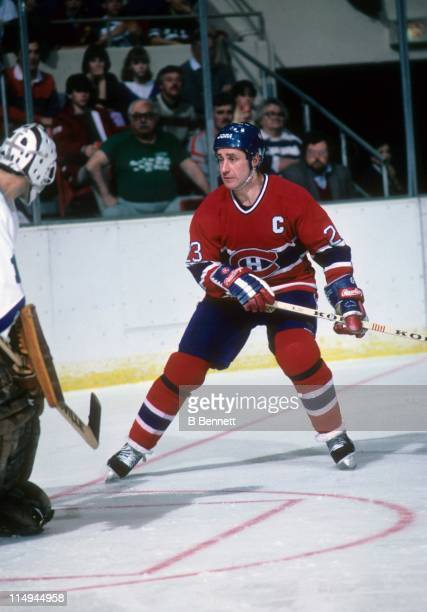 Bob Gainey of the Montreal Canadiens skates to the front of the net during an NHL game in February 1987