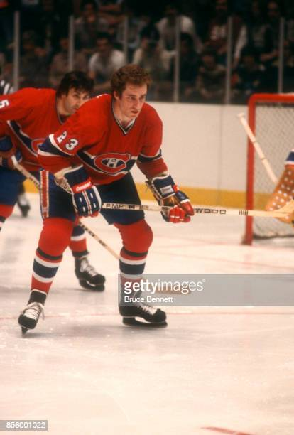 Bob Gainey of the Montreal Canadiens waits for the faceoff during an NHL game against the New York Rangers on March 25 1979 at the Madison Square...