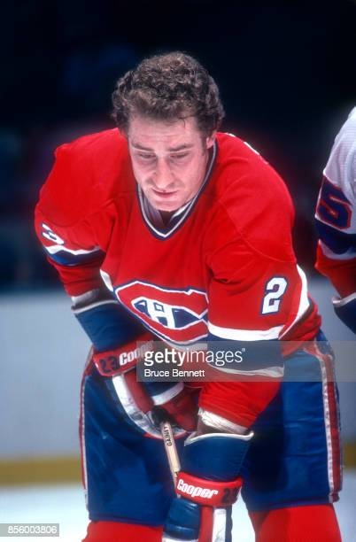 Bob Gainey of the Montreal Canadiens waits for the faceoff during an NHL game against the New York Islanders on February 27 1979 at the Nassau...