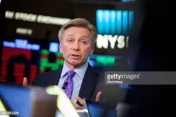 Bob Gamgort, chief executive officer at Keurig Green Mountain Inc., speaks during an interview on the floor of the New York Stock Exchange in New...