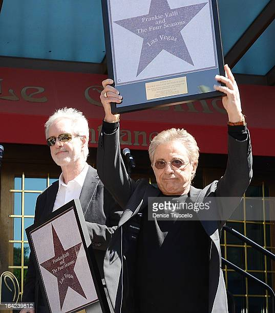 Bob Gaudio and Frankie Valli of Frankie Valli And The Four Seasons receive star on 'Las Vegas Walk Of Stars' at Paris Las Vegas on March 21 2013 in...