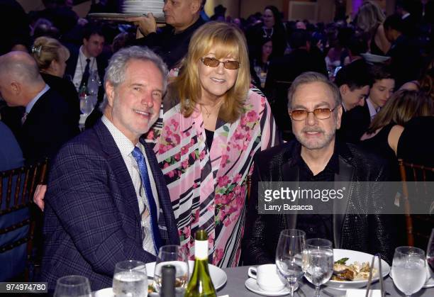 Bob Gaudio Songwriters Hall of Fame President and CEO Linda Moran and Johnny Mercer Award Honoree Neil Diamond during the Songwriters Hall of Fame...