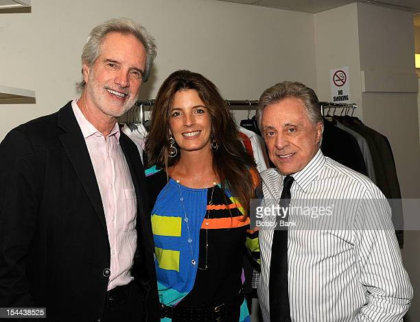 Bob Gaudio with his daughter Lisa Guadio and Frankie Valli attends Frankie Valli And The Four Seasons 50th Anniversary Celebration at Broadway...
