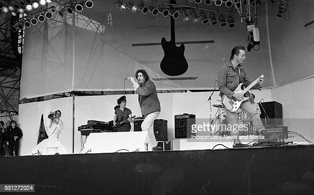 Bob Gedof and The Boomtown Rats on stage dring the SelfAid benefit concert in the RDS