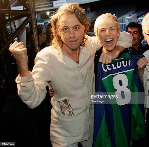 Bob Geldof and Annie Lennox are seen backstage at the Live 8 Edinburgh concert at Murrayfield Stadium on July 6, 2005 in Edinburgh, Scotland. The...