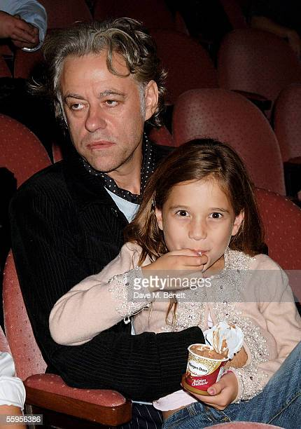 Bob Geldof and his daughter attend the press performance for Ducktastic at the Albery Theatre on October 19 2005 in London England The show is a...