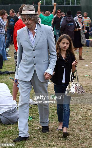 Bob Geldof and his daughter Tiger Lilly attend day 3 of the O2 Wireless Festival 2008 on July 5 2008 in London England