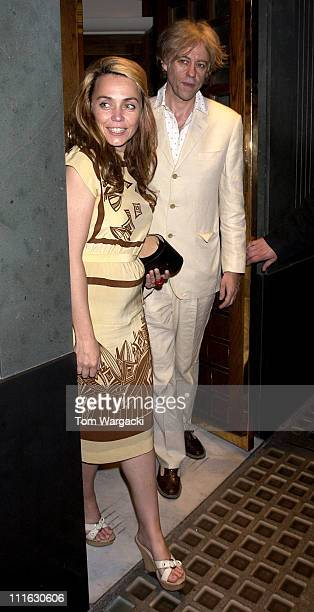 Bob Geldof and his girlfriend Jeanne Marine during Celebrity Sightings at The Ivy June 9 2006 at Ivy in London Great Britain