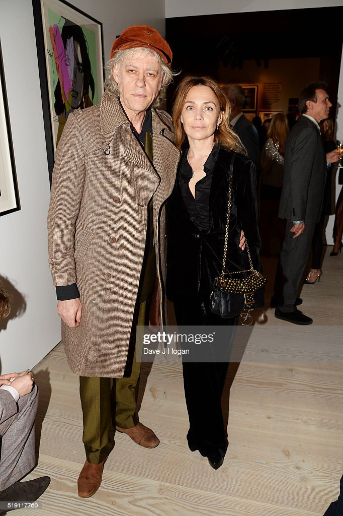 Bob Geldof (L) and Jeanne Marine attend an after party for 'The Rolling Stones: Exhibitionism' at Saatchi Gallery on April 4, 2016 in London, England.