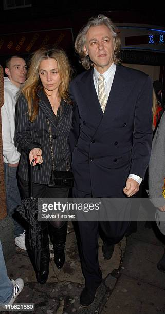 Bob Geldof and Jeanne Marine during Equus West End Opening Night Departures at Gielgud Theatre in London Great Britain
