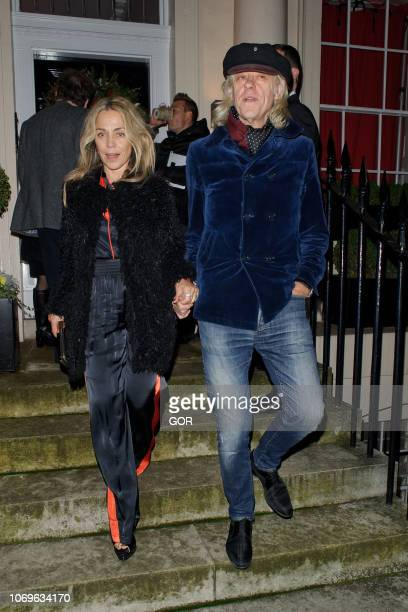 Bob Geldof and Jeanne Marine seen attending the Evgeny Lebedev Christmas Party in North London on December 7 2018 in London England