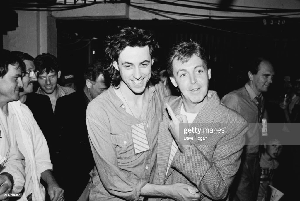 Bob Geldof and Paul McCartney backstage at Wembley Stadium during the Live Aid Concert, 13th July 1985.