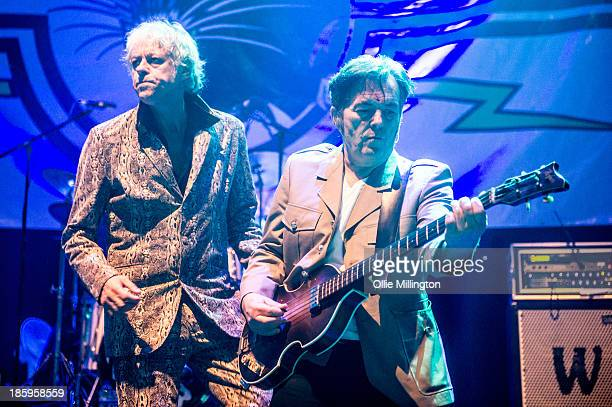 Bob Geldof and Pete Briquette of The Boomtown Rats perform onstage for the first time in London for 25 years at The Roundhouse on October 26 2013 in...