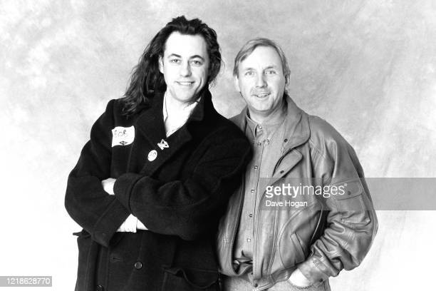 Bob Geldof and Pete Waterman during the recording of the Band Aid 2 charity single 'Do They Know It's Christmas' PWL studios in South London on 03...