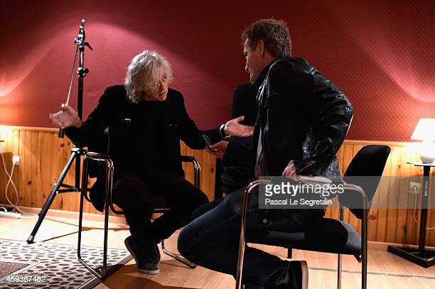 Bob Geldof is interviewed during the 'Band Aid' Press Conference at Studio 180 on November 21 2014 in Paris France