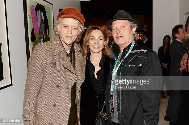 Bob Geldof Jeanne Marine and Chris Jagger attend an after party for 'The Rolling Stones Exhibitionism' at Saatchi Gallery on April 4 2016 in London...