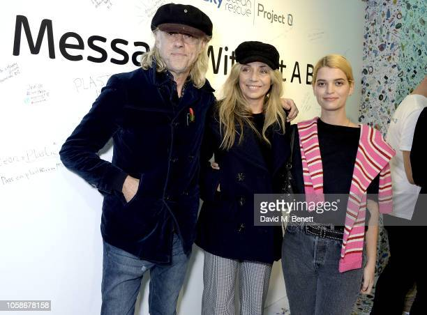 Bob Geldof Jeanne Marine and Pixie Geldof attend the launch of the Sky Ocean Rescue and Project 0 #PassOnPlastic Reusable Range designed by the likes...