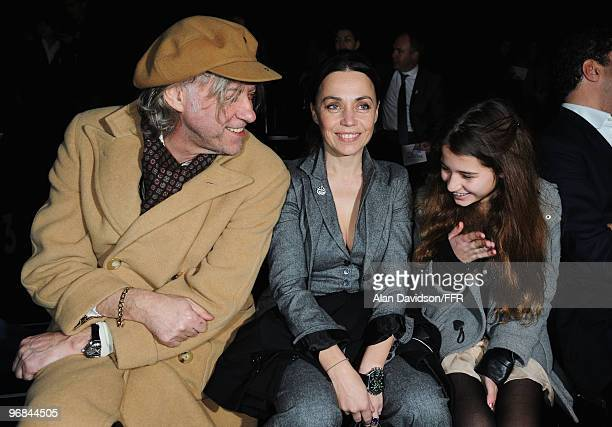 Bob Geldof Jeanne Marine and Tiger Lily Geldof attend Naomi Campbell's Fashion For Relief Haiti London 2010 Fashion Show at Somerset House on...