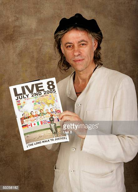 Bob Geldof poses for a studio portrait backstage at Live 8 London in Hyde Park on July 2 2005 in London England The free concert is one of ten...