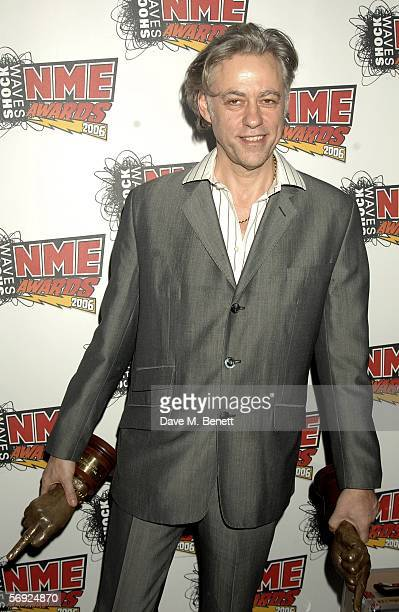 Bob Geldof poses in the Awards Room with the award for Hero of The Year at the Shockwaves NME Awards 2006 the weekly music magazine's annual awards...