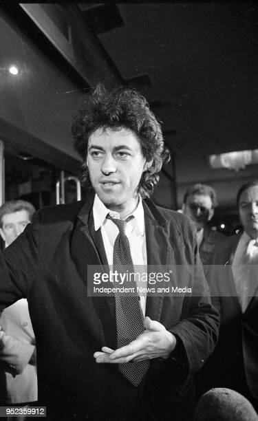 Bob Geldof recieves the United Nations FAO Medal presented by Taoiseach Garret Fitzgerald at the Berkeley Court Hotel circa October 1986