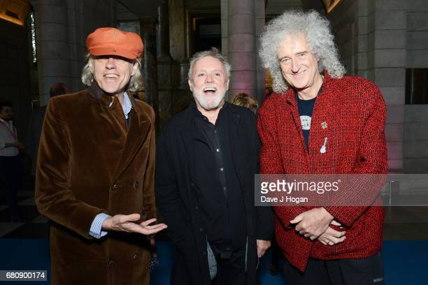 Bob Geldof Roger Taylor and Brian May attend The Pink Floyd Exhibition 'Their Mortal Remains' private view at The VA on May 9 2017 in London United...