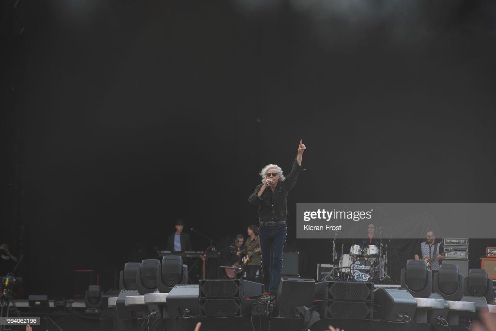 Bob Geldof, Simon Crowe and Pete Briquette of The Boomtown Rats perform at Marlay Park on July 8, 2018 in Dublin, Ireland.